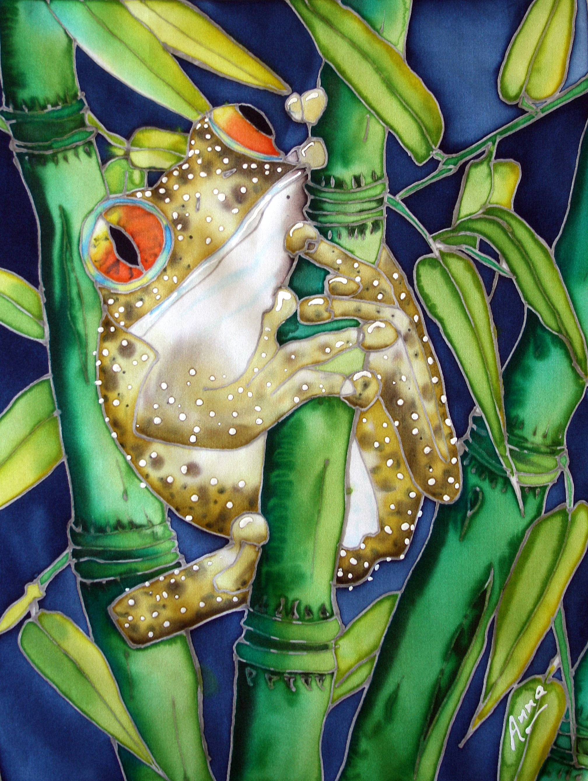 Frog in bamboo | Anna's Art Gallery