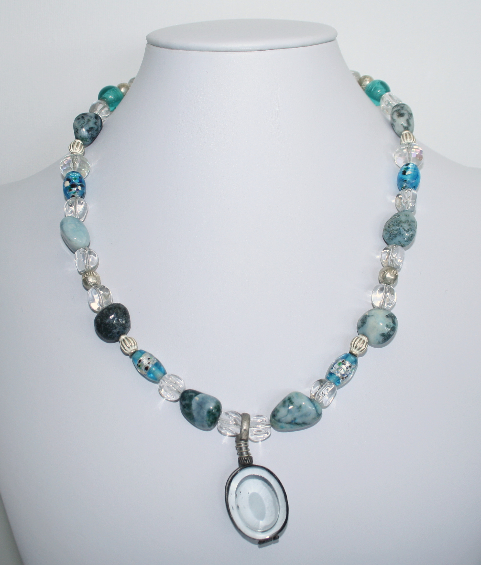 necklace bead turquoise blueshore quartz long blue beach fish product jasper sky pewter